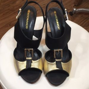 Rebecca Minkoff Black Gold Leather Strappy Heels